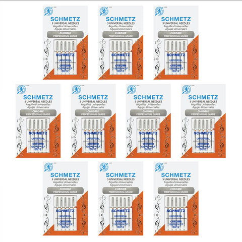 50 Schmetz Chrome Universal Sewing Machine Needles - size 80/12 - Box of 10 cards