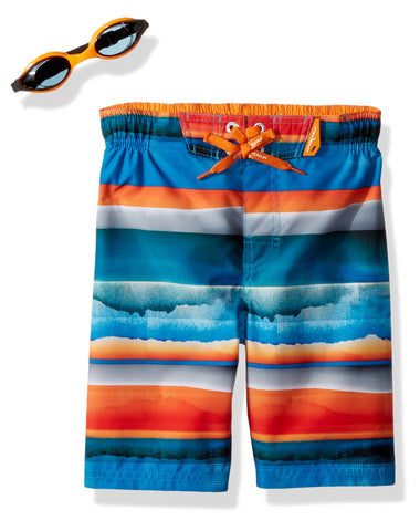 ZeroXposur Boy's Surf UPF 50 + Swim Trunks with Goggles 18 / 20 Popsicle