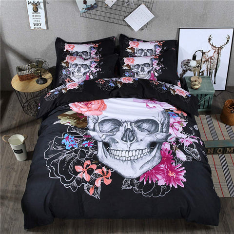 3 Pieces Duvet Cover Queen 3D White Skull Floral Pattern Printed Bedding Set with 2 Pillowcases Microfiber Gothic Duvet Cover with Zipper Ties 1334