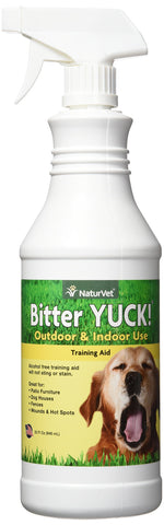 NaturVet Bitter Yuck! No Chew Spray for Dogs, Cats, and Horses Pet Training Spray, Liquid, Made in the USA 32 oz spray bottle