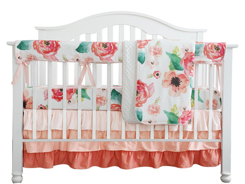 Boho Chic Coral Floral Ruffle Baby Minky Blanket, Peach Floral Nursery Crib Skirt Set Baby Girl Crib Bedding (Coral)