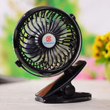 Clip on Mini Desk Fan, GS Rechargeable Battery Operated Cooling USB Fan, 360°Rotation, Adjustable Speeds,Small Portable Stroller Fan for Baby, Car Seat, Gym, Travel, Treadmill (Black) Classic Black