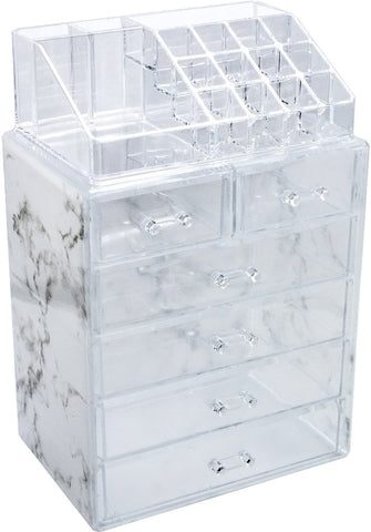 Sorbus Luxe Marble Cosmetic Makeup and Jewelry Storage Case Display - Spacious Design - Great for Bathroom, Dresser, Vanity and Countertop (4 Large, 2 Small Drawers, Marble Print) 4 Large, 2 Small Drawers