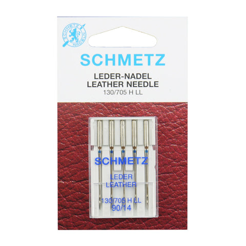 SCHMETZ 25 PCS Carded Leather Needle 130/705 H LL(Leder Leather) NM/SIZE:90/14#130/705H-LL#90-SB5