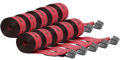 Mytee Products Kinedyne 4  x30' Winch Straps w/Flat Hook, WLL 5400 Trailer Flatbed Tie Down Strap - Red (10 - Pack) 10 - Pack
