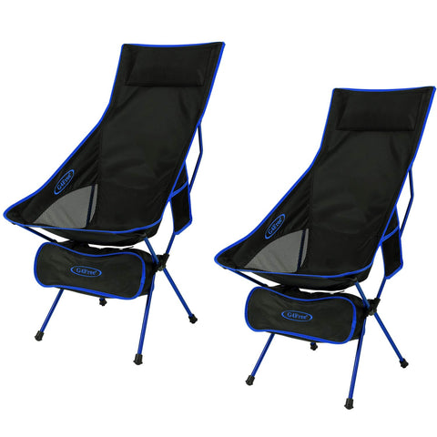 G4Free Upgraded Outdoor 2 Pack Camping Chair Portable Lightweight Folding Camp Chairs with Headrest & Pocket High Back High Legs for Outdoor Backpacking Hiking Travel Picnic Festival Dark Blue
