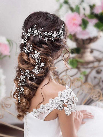 Catery Flower Bride Wedding Headband Silver Crystal Pearl Hair Vine Bead Bridal Hair Accessories for Women and Girls (Silver)