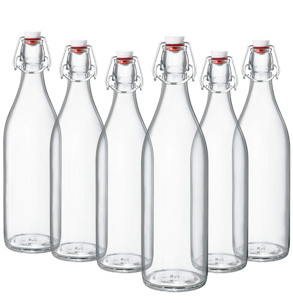 Giara Swing Top Bottles 33 ¾ Ounce/1 Liter (6 Pack) ROUND Clear Glass Grolsch Flip Top Bottle With Stopper, for Beverages, Smoothies, Kefir, Beer, Soda, Juicing, Kombucha, Water, Milk, Oil and Vinegar Set of 6