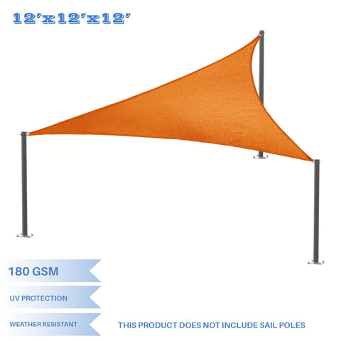 E&K Sunrise 12' x 12' x 12' Orange Equilateral Triangle Sun Shade Sail Outdoor Shade Cloth UV Block Fabric,Curve Edge-Customized 12' x 12' x 12'