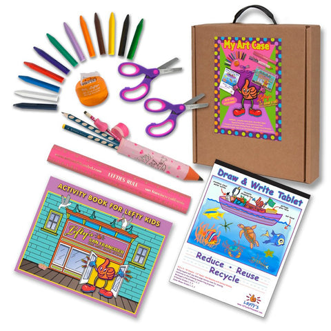 Left-handed Art and Activity Kit (Activity Book, Pencils, Scissors & More) Warm Pink & Purple Tones, 23 Pc Set