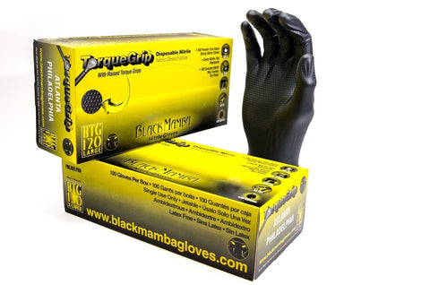 Black Mamba Powder Free Industrial Strength Nitrile Gloves with Raised TORQUE GRIP 100 Glove BOX (EXTRA EXTRA LARGE)