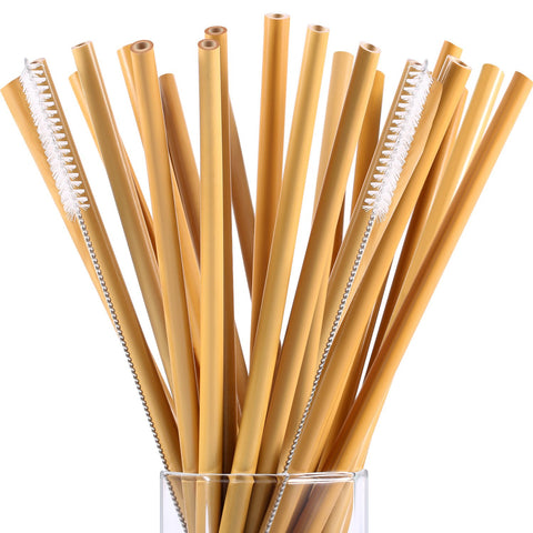 20 Pieces 7.5 inch Reusable Bamboo Drinking Straws Alternative to Plastic Kids Straws Includes 2 Pieces Nylon Cleaning Brushes