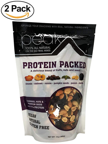 Protein Packed 100% All Natural On The Go Trail Mixes , Natural , Vegan , Gluten Free Mix Nuts.(Pack of 2) Protein Packed Trail Mix