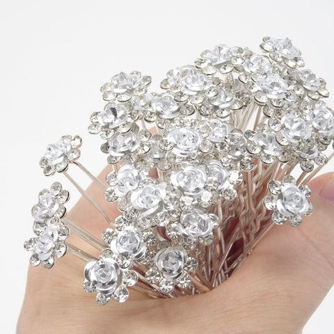 yueton 20 Pack Wedding Bridal Flower Crystal Rhinestone Hair Pins Clips Rhinestone Hair Clips for Women and Girls