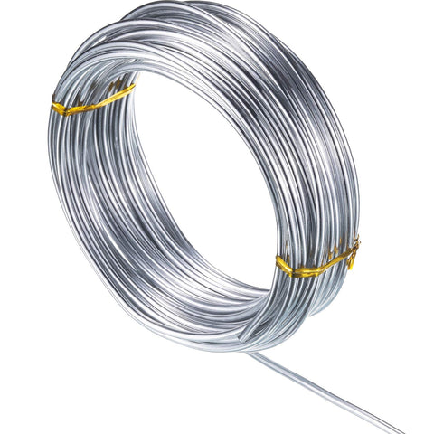 32.8 Feet Copper Aluminum Wire, Bendable Metal Craft Wire for Making Dolls Skeleton DIY Crafts (Silver, 2 mm Thickness) Silver 2mm Thickness