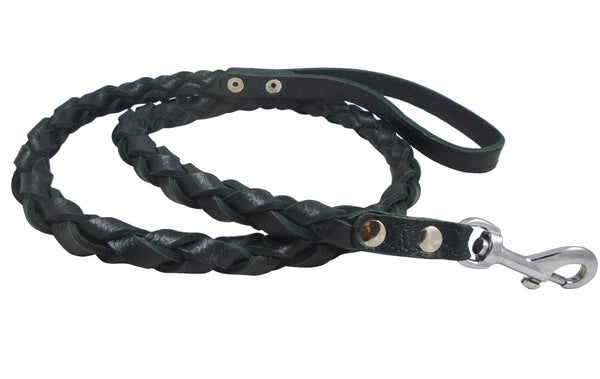 Black 4-Thong Round Fully Braided Genuine Leather Dog Leash, 4 Ft Long, Large Breeds
