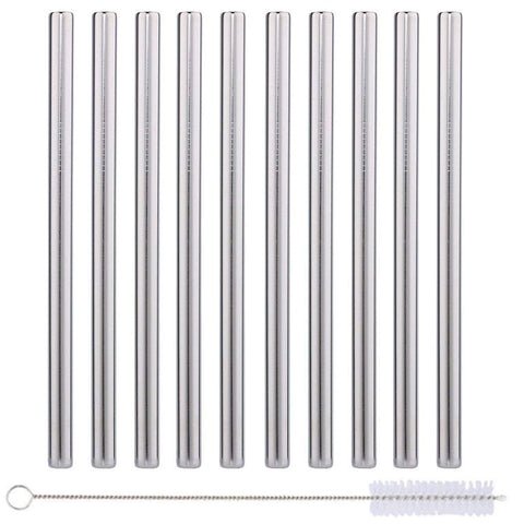 "10 Pack Boba Straws In Stainless Steel - Reusable Metal Straws Best For Drinking Bubble/Boba Tea, Smoothies, Shakes - Extra Wide 0.5'' And 8.5"" Long - Comes With Cotton Storage Bag And Cleaning Rod"