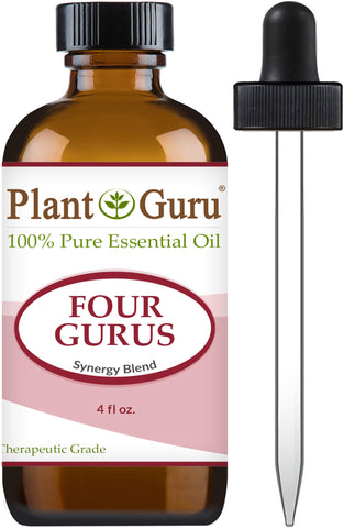 Four Gurus Essential Oil Blend 4 oz Bulk 100    Pure Natural Therapeutic Grade Blended with Clove, Cinnamon, Lemon, Rosemary Eucalyptus for Aromatherapy Diffuser and Immune Support