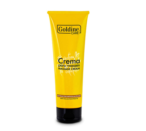 Goldine Care Anti-Cellulite Massage Cream with Extracts 240 Gr/ 8 Oz, Firming Toning & Slimming Lotion for Legs Arms Stomach & Buttocks