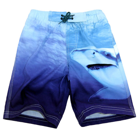 Boys Swim Trunk Drawstring Shark Varied Blue Quick Dry Swimming Beach Shorts 11-12Y(Waistline:26 )