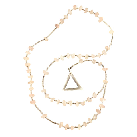 Rose Quartz Rosary - Triangle Pendant - Crystal Clear Miracles Healing - Prayer Bead Necklace - Powerful Blessing - Hand Faceted Natural Stone