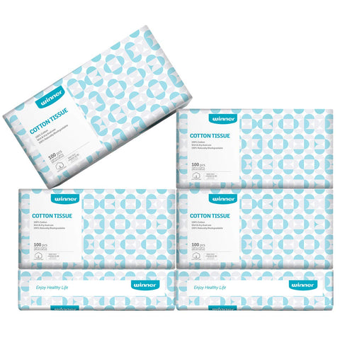 Dry Baby Wipes Winner Soft Dry Wipes 600 Count Cotton Tissue Unscented Facial Cotton Wipes for Sensitive Skin (6 Pack)