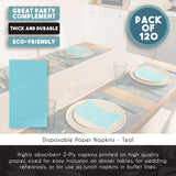 Blue Panda 120 Pack 2-Ply Disposable Paper Dinner Party Napkins, Teal, 7.5 x 4.25 Inches