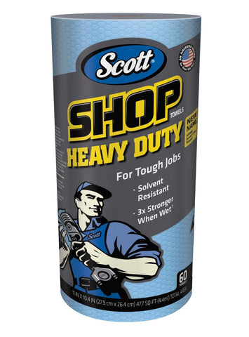 Scott Shop Towels Heavy Duty (32992), Blue Shop Towels for Solvents & Heavy-Duty Jobs, 60 Sheets / Roll, 12 Rolls, 720 Sheets / Case