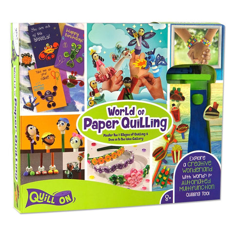 World of Paper Quilling - Fun Craft Kit - Complete Quilling Set for Beginners - Contains: Automated Quilling Tool, Quilling Board, Quilling Mould, 550 Quilling Strips and 120 Pages Quilling Idea Book