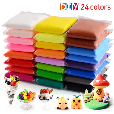 24 Colors Air Dry Clay, QMAY DIY Modeling Clay Ultra Light Modeling Clay, Magic Clay Artist Studio Toy, Creative Art DIY Crafts, Gift for Kids