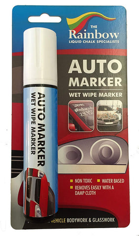 Car Paint Marker Pens Auto Writer White - Wide Tip - All Surfaces, Windows, Glass, Tire, Metal - Any Automobile, Truck or Bicycle, Water Based Wet Erase Removable Markers Pen