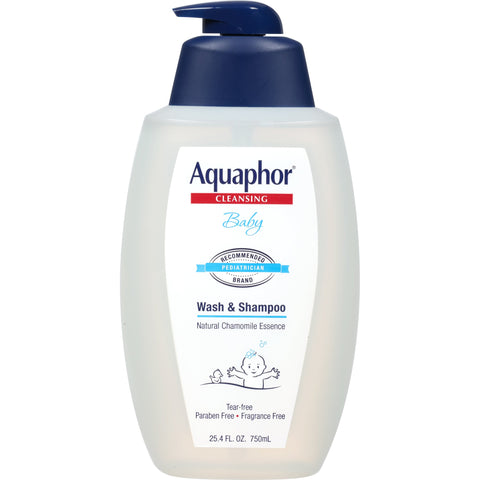 Aquaphor Baby Wash and Shampoo - Mild, Tear-free 2-in-1 Solution for Baby's Sensitive Skin - 25.4 fl. oz. Pump 25.4 Fl. Oz (Pack of 1)
