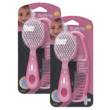 Safety 1st Easy Grip Brush and Comb, Pink - 2 Pack