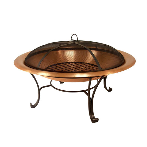 "Catalina Creations 40"" Solid Copper Fire Pit with Log Grate, Spark Screen, with Lift Tool 40 inch"