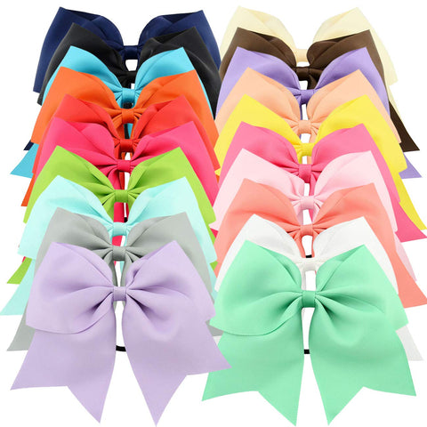 "20pcs 8"" Grosgrain Ribbon Large Cheer Hair Bow Ties Ponytail Holder Elastic Band Cheerleading Ties for Girls Teens Senior Children Kids Toddlers and Women"