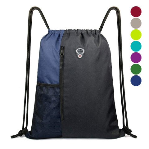Drawstring Backpack Sports Gym Bag for Women Men Children Large Size with Zipper and Water Bottle Mesh Pockets Black/Navy