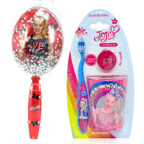 Jojo Siwa Big Girl Toothbrush and Rinsing Cup Set with Confetti Glitter Handle Hairbrush