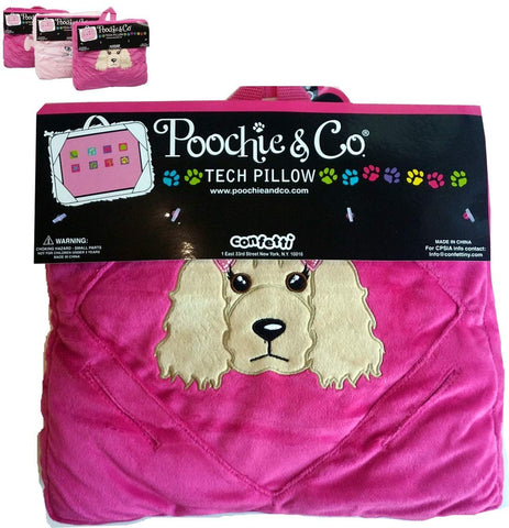 UltimateGifts Three-in-ONE Gift - Plush Tablet Pillow, Kids Travel Pillow, and Bag with Inside Pocket and Elastic Straps On The Back for Girls