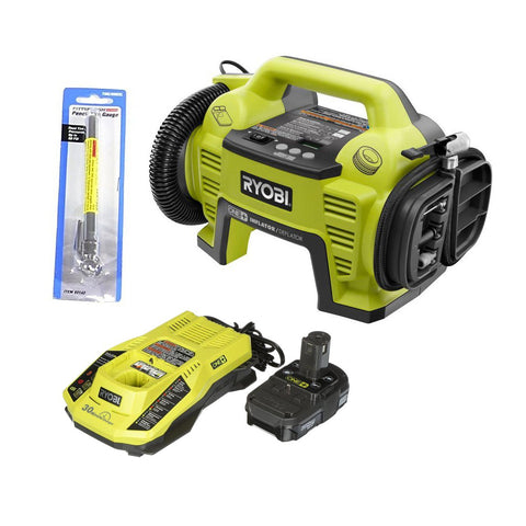 Ryobi P731 One+ 18v Dual Function Power Inflator/Deflator with Charger, Lithium-ion battery and Pittsburgh Automotive Pencil Tire Gauge (Bundle)