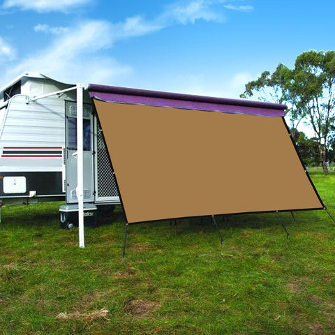 CAMWINGS RV Awning Privacy Screen Shade Panel Kit Sunblock Shade Drop 10 x 16ft, Coffee