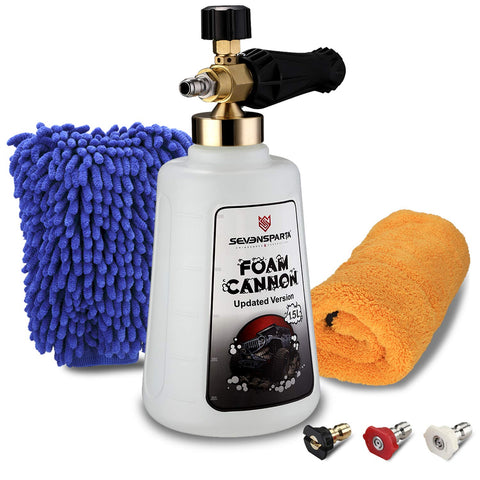 Seven Sparta Foam Cannon Kit with 1/4  Quick Connector, Including Car Wash Cannon, Microfiber Gloves,Towel and 3 Pressure Washer Nozzles for Pressure Washer Gun, Adjustable Car Wash Pressure Washer