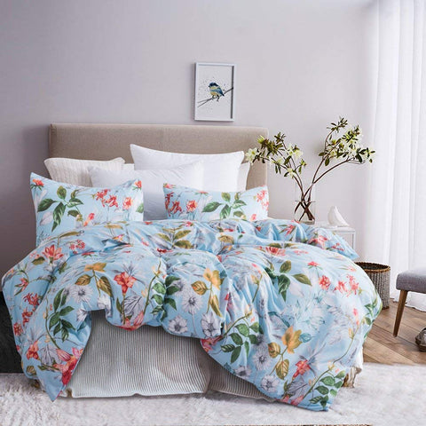 Leadtimes Floral Duvet Cover Twin Kids Hotel Boho Bedding Set Duvet Comforter Cover with Flowers Patterns 1 Duvet Cover and 2 Pillowcases (Twin, Blue Floral)