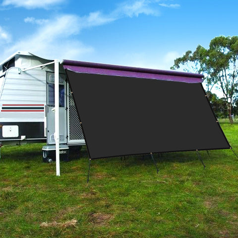 CAMWINGS RV Awning Privacy Screen Shade Panel Kit Sunblock Shade Drop 10 x 20ft, Black