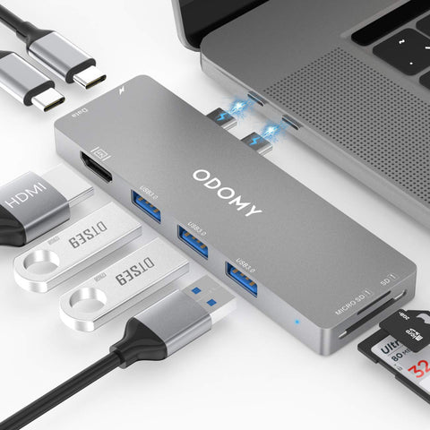 "ODOMY USB C Hub 8 in 1 for MacBook Pro 2019 2018 2017 2016 13""15"" Dual Type C Hub Adapter with Thunderbolt 3, 100W Power Delivery, 4K HDMI, 3xUSB 3.0 Ports, SD&TF Card Reader"
