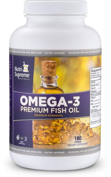 Nutri-Supreme Research Omega-3 Premium Fish Oil - Maximum Strength - 180 Softgels