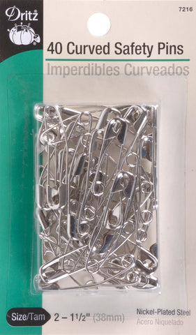 Dritz 7216 Safety Pins, Curved, Size 2 (40-Count)