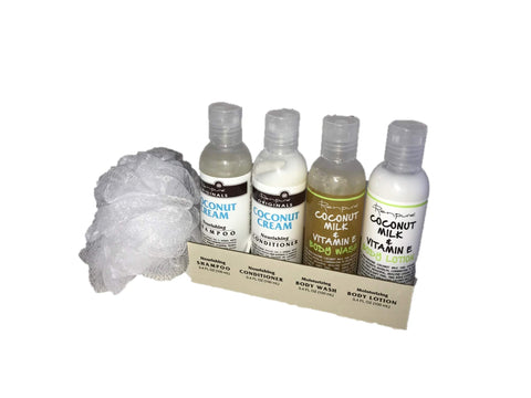 Renpure Mini Gift Set - Shampoo, Conditioner, Body Wash, and Body Lotion with Mini Scrub Puff Coconut Cream and Coconut Milk
