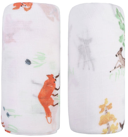 Bamboo Muslin Swaddle Blankets - 2 Pack Fox & Deer - Softest Baby Receiving Blankets Baby Shower Gifts for Boys and Girls by Little Jump (Fox & Deer)