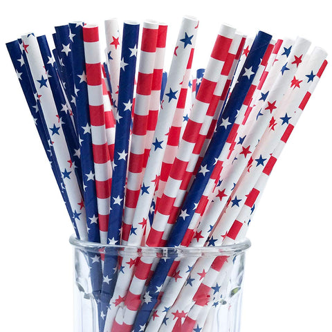 150 American Flag Red White Blue Paper Straw Combo, 3 Designs - 100    Biodegradable - 7.75 Inches - Memorial day and 4th of July Celebration Supply - 150 Straws, 3 Patterns Individually Packed