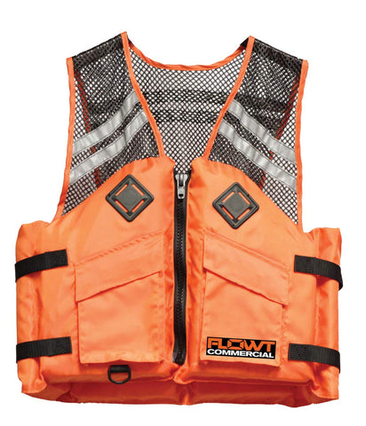 FLOWT Commercial Comfort Mesh Life Vest - USCG Approved Type III PFD Large/X-Large Orange